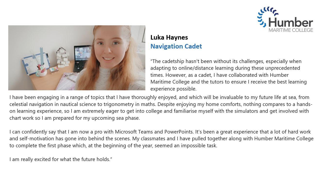 Luka Haynes - cadet feedback